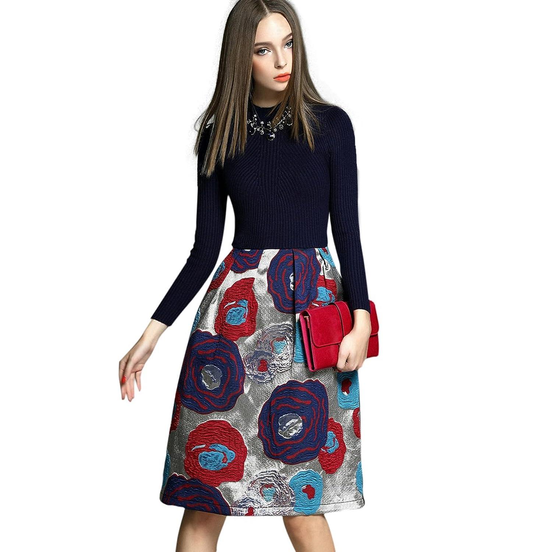 Onlymaker Women's Print Flower Knitted Sweater Lantern Swing A-line Dress