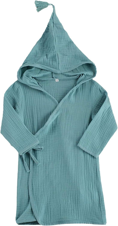 Toddler Baby Girl Boy Long Sleeve Cotton Linen Bathrobe Solid Color Kimono Hooded Robe