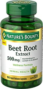 Nature's Bounty Beet Root Extract Pills and Herbal Health Supplement, Wellness Formula for Stamina and Faster Recovery, 500 mg, 90 Capsules