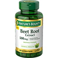 Nature's Bounty Beet Root Extract Pills and Herbal Health Supplement, Wellness Formula...