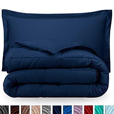 Bare Home Comforter Set - Full/Queen - Goose Down Alternative - Ultra-Soft - Premium 1800 Series - Hypoallergenic - All Season Breathable Warmth (Full/Queen, Dark Blue)