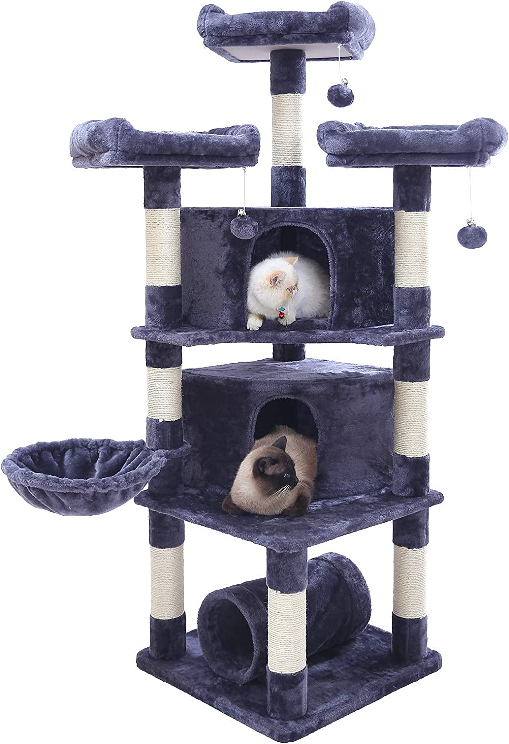 Hey-bro 65 inches Extra Large Multi-Level Cat Tree Condo Furniture with Sisal-Covered Scratching Posts, 2 Bigger Plush Condos, Perch Hammock for Kittens, Cats and Pets