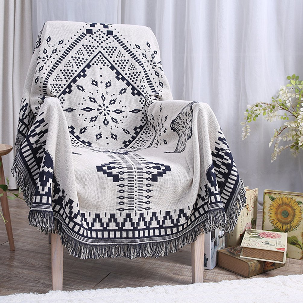 Throw Blanket Tassels Tapestry Woven Cotton Sofa Bed Couch Chair Cover, Boho Blanket for Home Living Room Bedroom Table Decor Double Sided White Black None-Branded