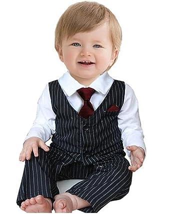 Bebé traje de boda Formal Fiesta pajarita de esmoquin Pelele ...
