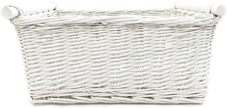 Grey,Medium 38x30x18cm topfurnishing KITCHEN LOG WICKER STORAGE BASKET WITH HANDLES XMAS EMPTY HAMPER BASKET