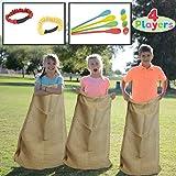 JOYIN 4 Players Outdoor Lawn Games; Potato Sack Race Bags, Egg and Spoon Race Games, Legged Relay Race Bands Elastic Tie…