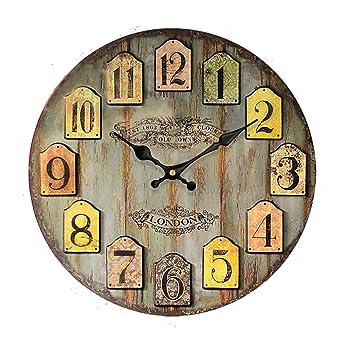Reloj de pared vintage- reloj de cocina de madera con esfera grande de MDF,