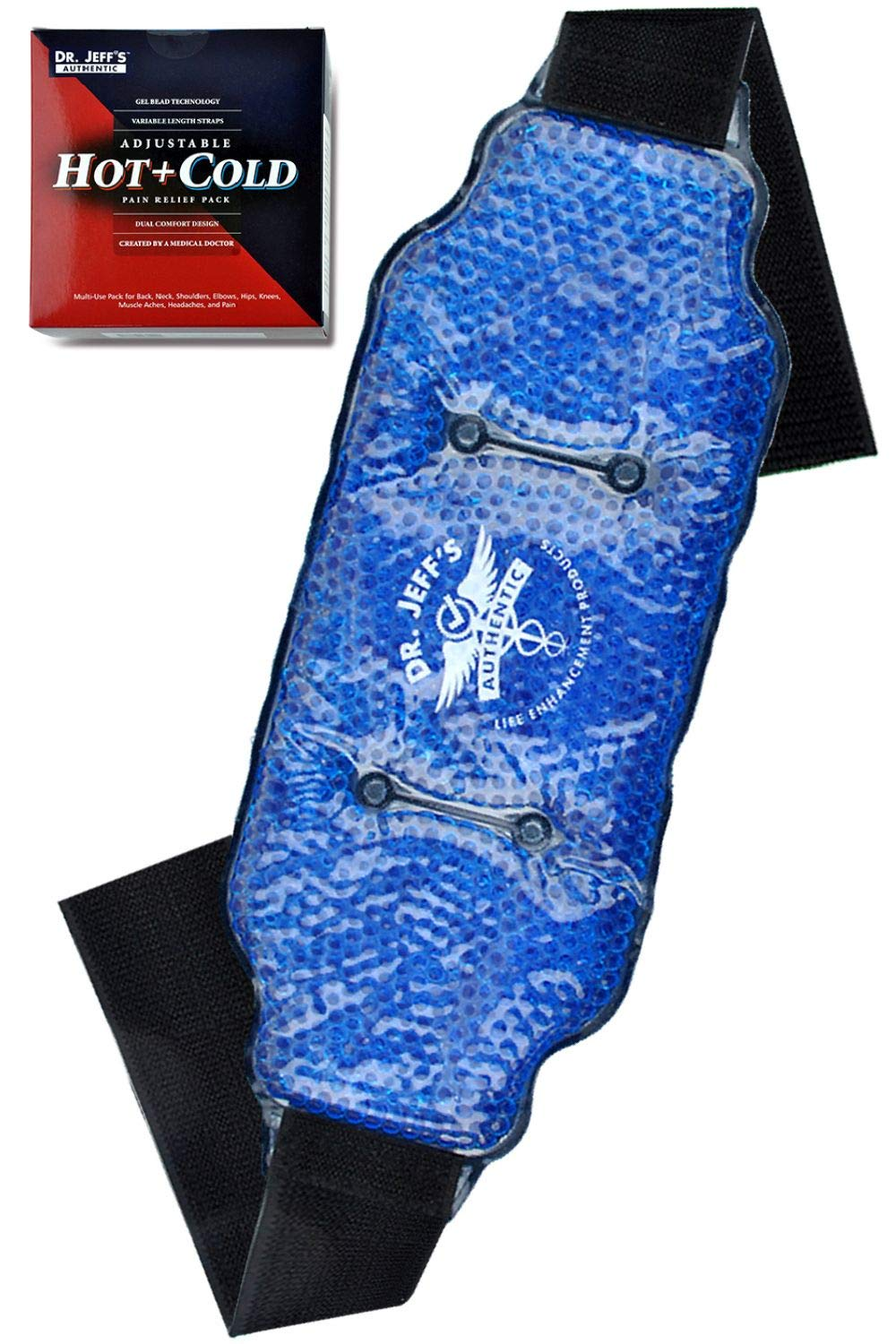 Medical Grade Pain Relief Flexible Ice Pack for Injuries | Dual Sided Soft Plush Hot Pack + Flexible Gel Beads Reusable Ice Pack | Great for Knee, Sciatica, Back, Neck Pain | Bonus Extension Straps by DR. JEFF'S AUTHENTIC