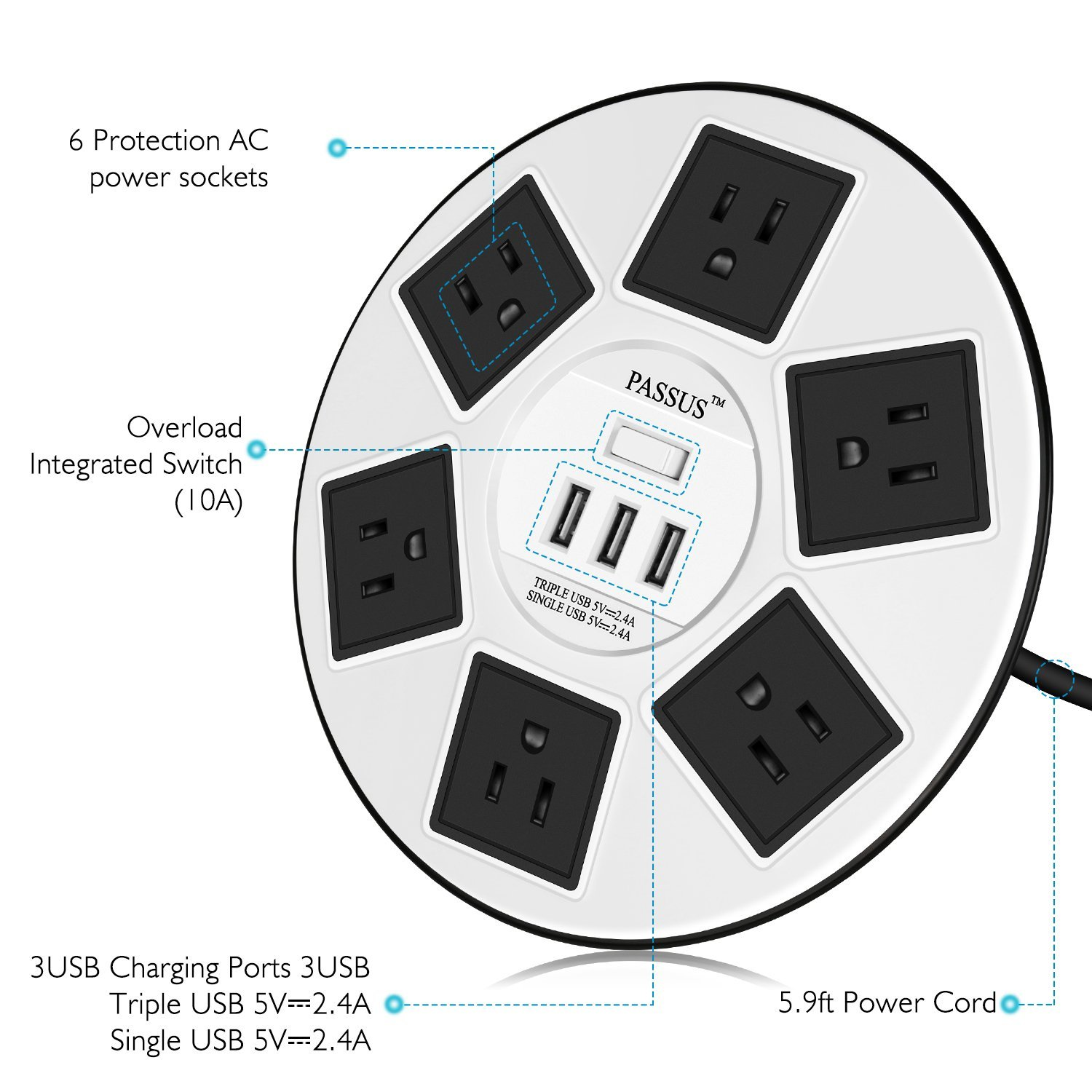 Idea for Home and Office White PASSUS Long 6 ft Cord Wire Round Surge Protector Power Strip 6 Outlet and 3 USB Charging Ports 2500W UFO Designed With Overload Protection /& Safety Door