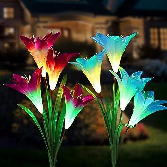 Luces solares de flores, multicolor cambiante energía solar 4 LED ...