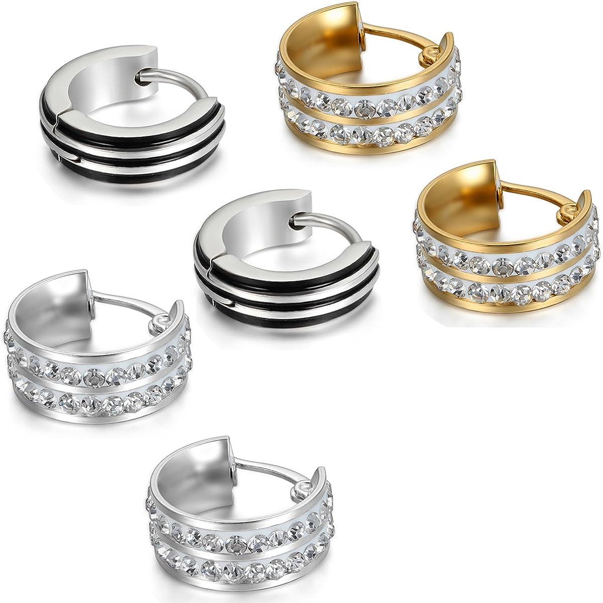Aroncent Stainless Steel Unique Small Hoop Earrings for Men 3 Pairs Huggie Earrings