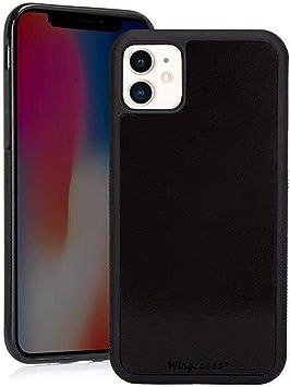 Wingcases pour iPhone 11 Coque 6.1 inch, Anti-gravité Noir la Magie Collante sur Miroir Verre Gluant Couverture de Selfie avec Film Anti-poussière