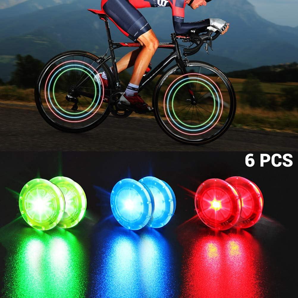 Juego de 6 Luces para radios de Bicicleta de monta/ña 2 Rojos, 2 Azules, 2 Verdes MAOJIE