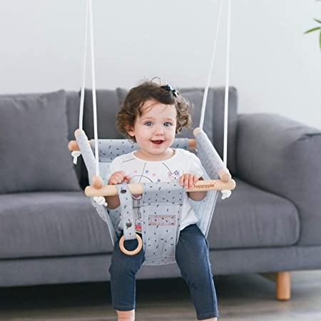 HAPPY PIE PLAY ADVENTURE Secure Canvas Hanging Swing Seat Indoor Outdoor Hammock Toy for Toddler Grey