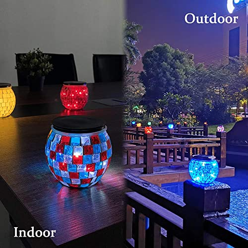 Nurluce Mosaic Glass Ball Lights 4 Pack Batteries Operated Table Lamp 10 LED Garden Lights Outdoor Mosaic Glass Desk Lamp LED Garden Decorations Waterproof Night Light for Kids Gifts