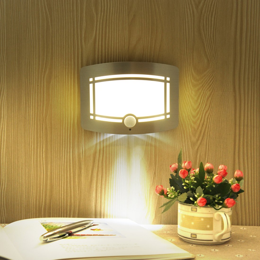 Motion Sensor LED Night Light,Wireless Battery Powered Wall Lamp,Stick Anywhere Wall Sconce,Aluminum Case Closet Light,Safe Light for Stair, Hallway,Bathrom,Bedroom,Kitchen by Kalefu (Image #2)