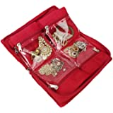 BlushBees Quilted Satin Red Gota Border Jewellery Organizer Pouch for Women
