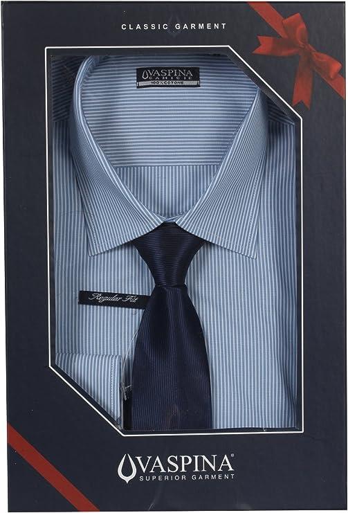 Camisa Rayas Blanca y Azul con corbata Fantasia rigata L-39 ...