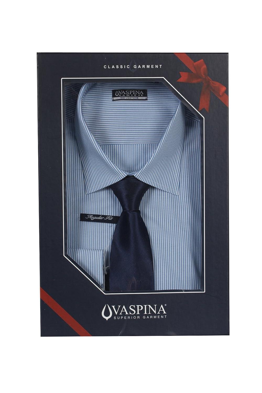 Camisa Rayas Blanca y Azul con corbata Fantasia rigata L-39/40 ...