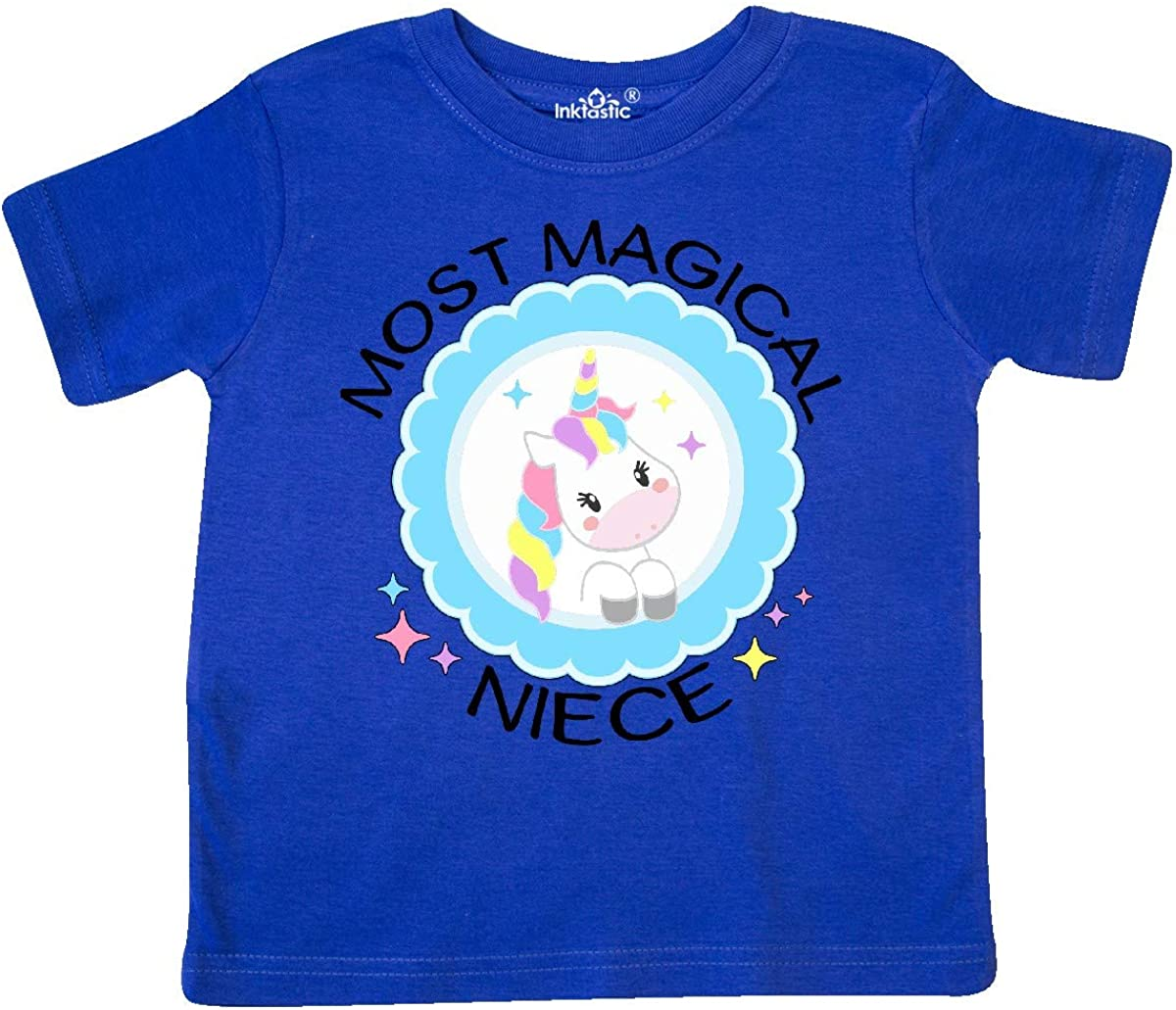 Cute Unicorn Badge Toddler T-Shirt inktastic Most Magical Niece