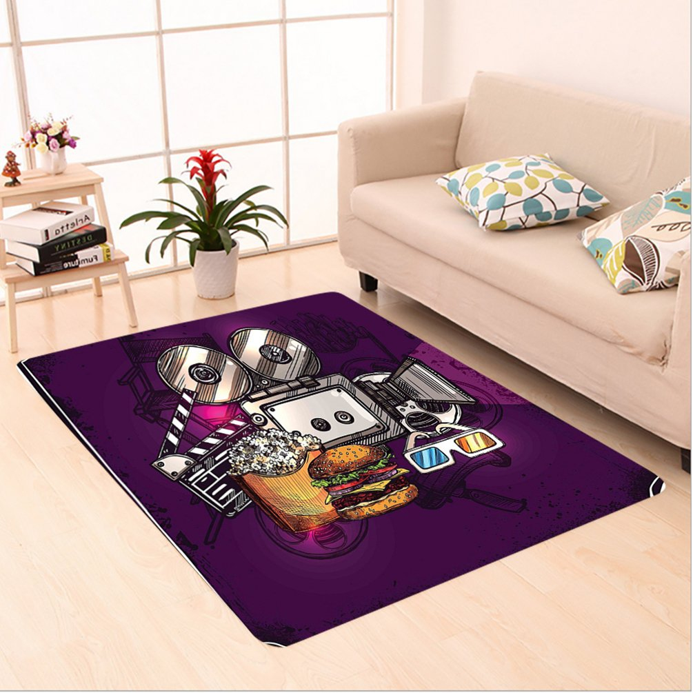 Nalahome Custom carpet ern Decor Cartoon like Cinema Movie Image Burgers Popcorns Glasses Art Print Plum Ginger Dimgrey area rugs for Living Dining Room Bedroom Hallway Office Carpet (6' X 9')