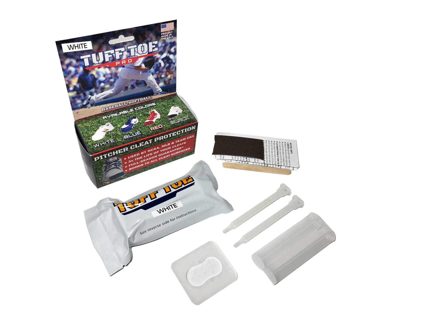 Tuff Toe Pro Pitching Toe White (No UV Protection) Cleat Protection Kit for Pitchers Toe