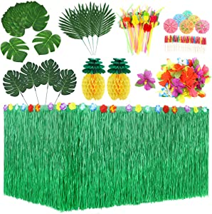 Auihiay 107 Pieces 8 Styles Hawaiian Tropical Party Decorations Set with Hawaiian Table Skirt, Palm Leaves, Luau Flowers, Tissue Pineapple, Umbrellas and 3D Fruit Straws for Luau Decorations