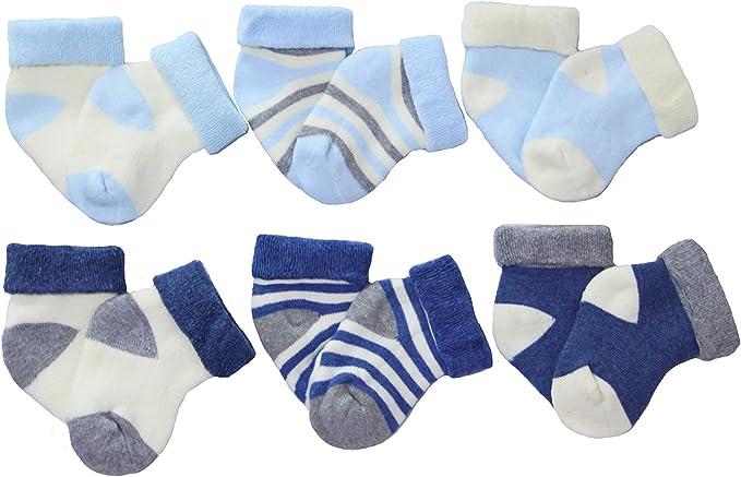 SAGESSE Set di 6 paia di calzini in cotone morbido per bambini molto piacevoli e al caldo regalo di natale nuovo anno per il bambino calze spesse e morbide misura da 0 a 3 anni