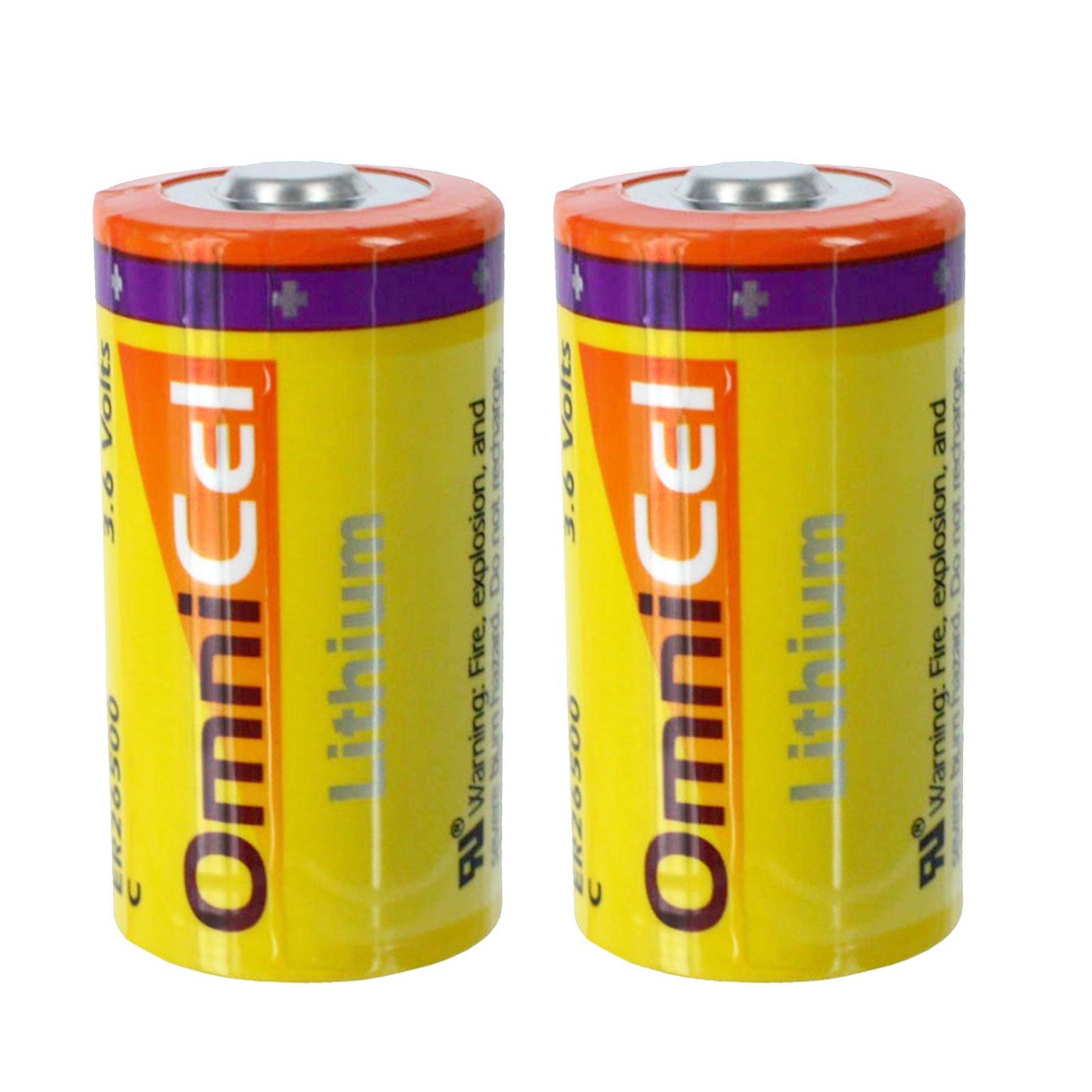 2x OmniCel ER26500 3.6V 8.5Ah Sz C Lithium Button Top Battery RFID Beacons AMR