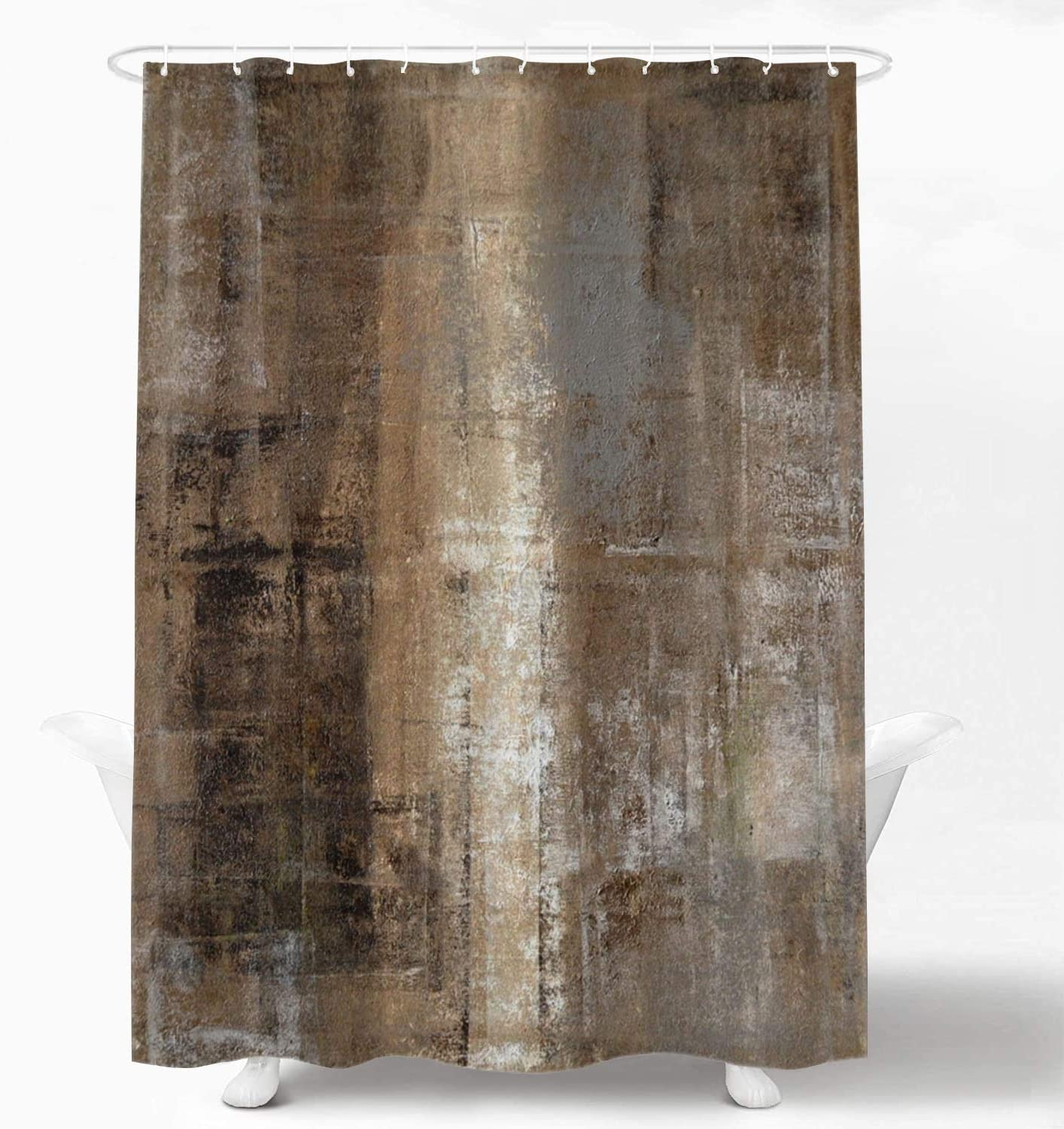 Shrahala Brown Grey Abstract Art Decorative Shower Curtain, Brown Art Abstract Acrylic Painting Shower Curtain for Shower Stall Bathroom Waterproof Funny Shower Curtain with Grommets 72x72 Inch