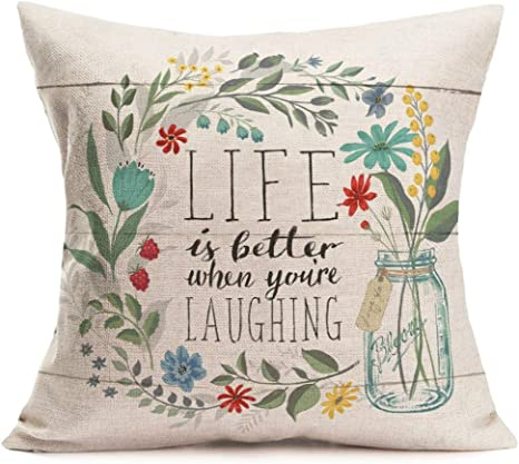 Amazon Com Fukeen Inspirational Quotes Throw Pillow Cases With Flower Bloom Leaves Decorative Cotton Linen Square Cushion Covers Home Garden Decor 18x18 Inch Life Is Better When You Re Iaughing Home Kitchen