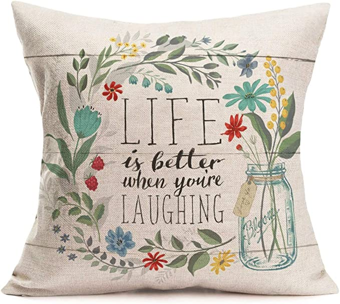 Fukeen Inspirational Quotes Throw Pillow Cases With Flower Bloom Leaves Decorative Cotton Linen Square Cushion Covers Home Garden Decor 18x18 Inch Life Is Better When You Re Iaughing Home Kitchen