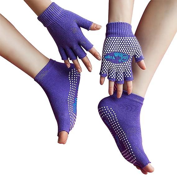 LJ Sport Mujer Chica Yoga Calcetines y Guantes Set Navidad Regalo algodón Antideslizante Calcetines Non Slip
