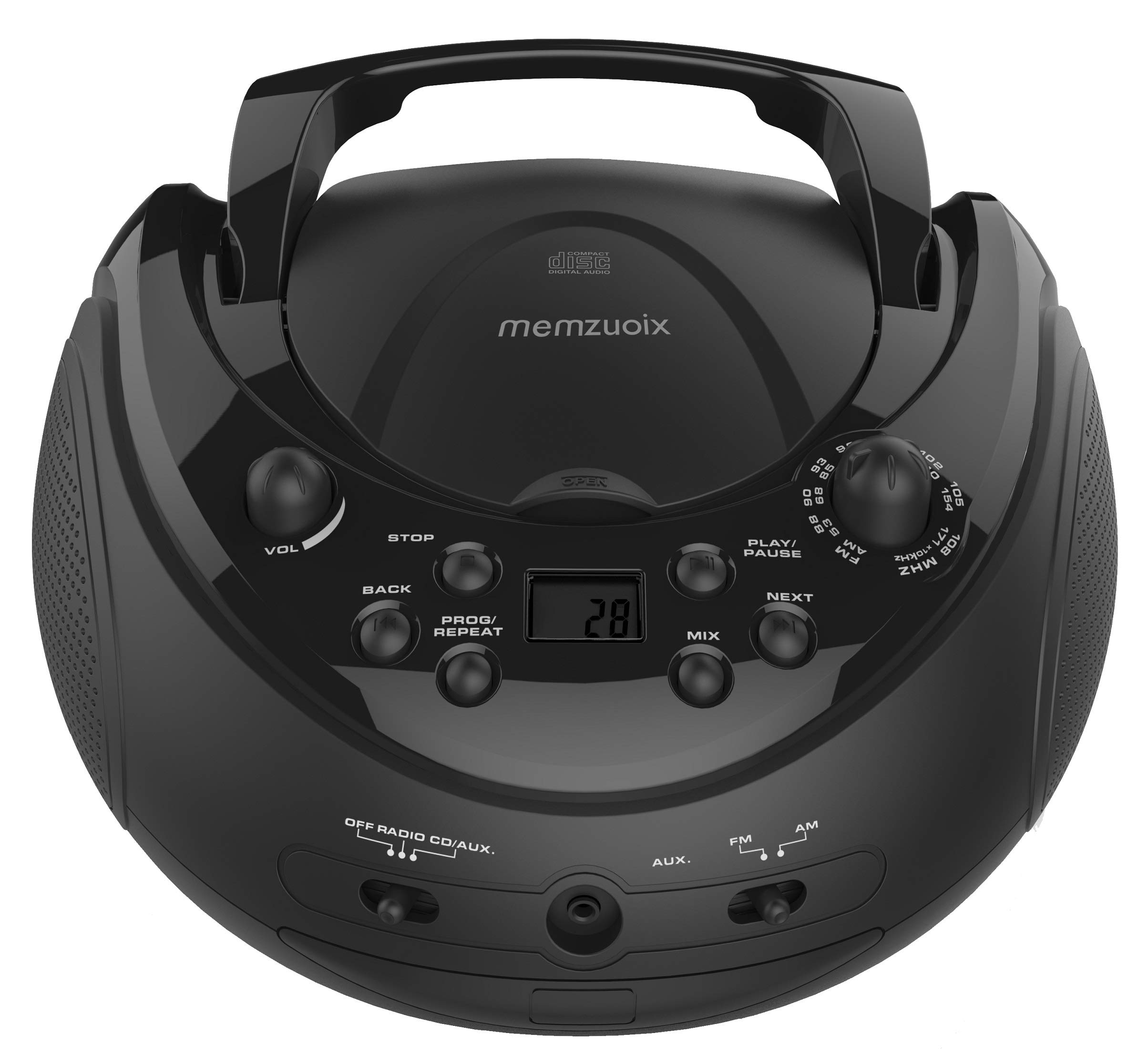 Memzuoix Portable CD Player CD Boombox with AM/FM Radio and 3.50mm Line Input Jack, Easy to Use, Compact Size for Family