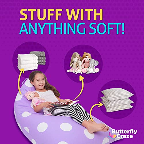 Butterfly Craze Stuffed Animal Storage Bag Bean Bag Chair Cover - the best bean bag chair for the money