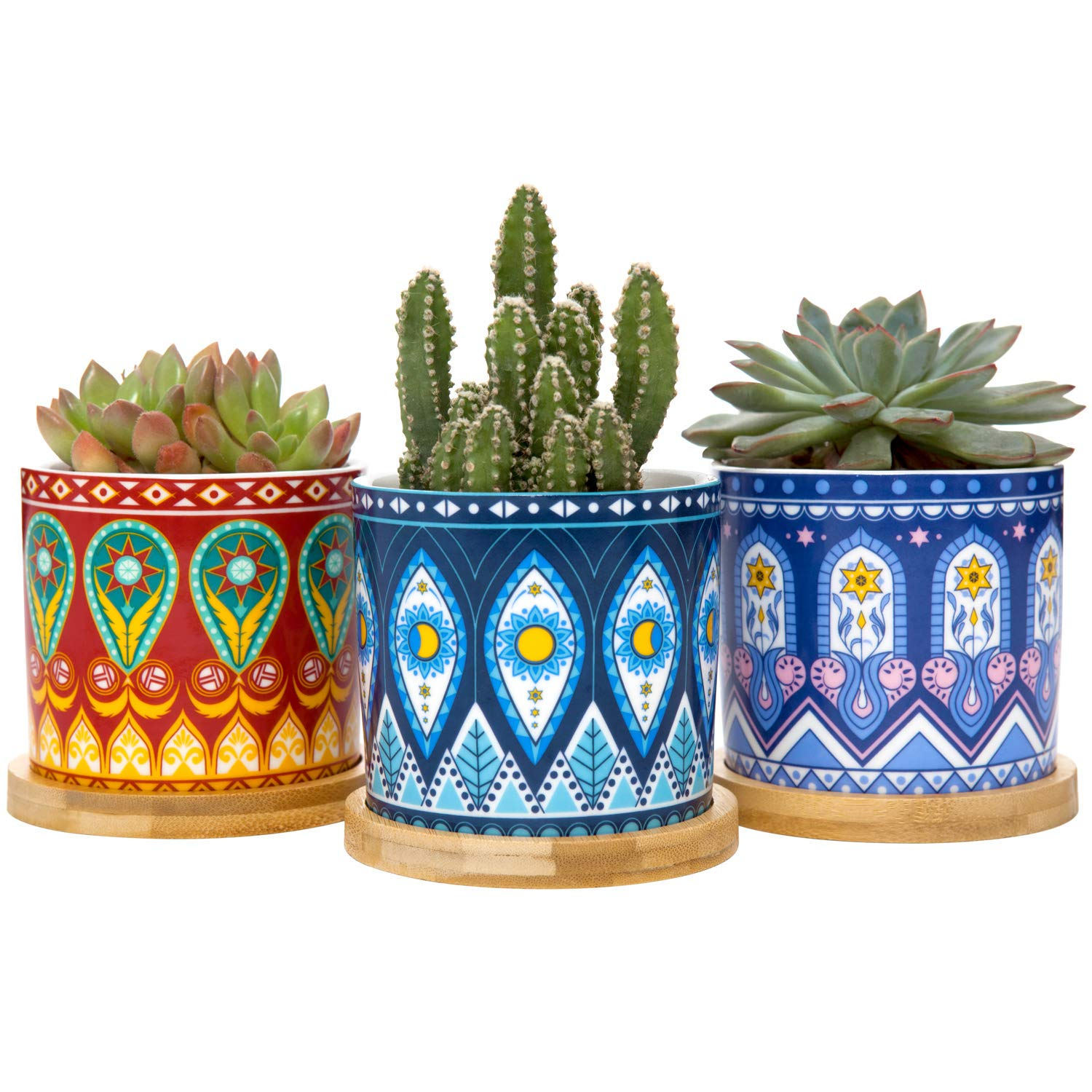 Mkono Succulent Plant Pots, 3 Inch Mandalas Ceramic Succulent Planter with Drainage Hole and Bamboo Trays for Cactus Cuttings Tiny Herb Plant Cute Gift Idea, Set of 3 Plants NOT Included