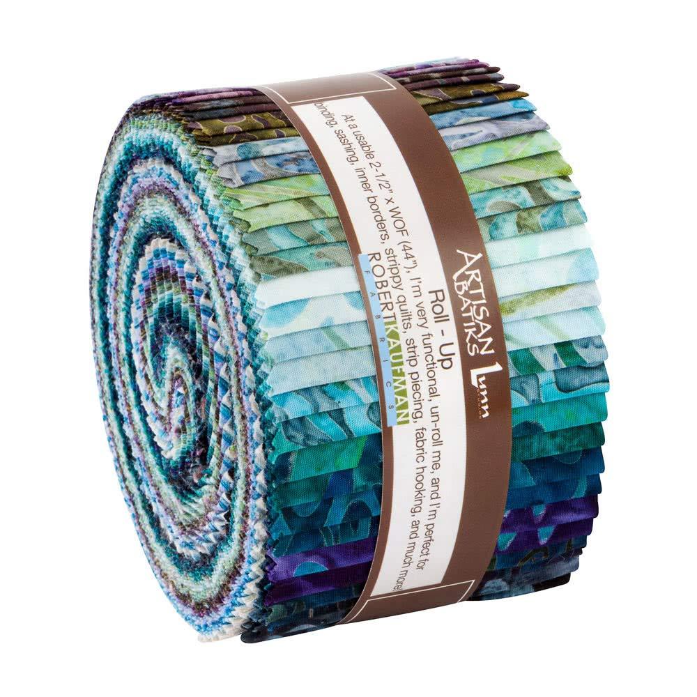 Artisan Batiks Aqua Spa Roll Up 2.5-inch Quilting Strips Jelly Roll Fabric Robert Kaufman Fabrics RU-832-40