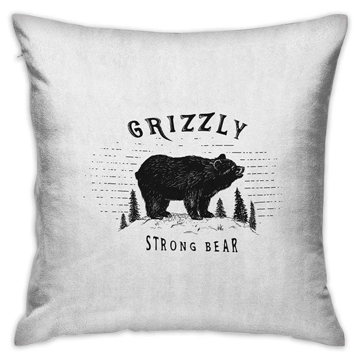 Bear Square Funny Pillowcase Strong Grizzly Bear in The Forest Vintage Grunge Look Life in The Mountains Theme Black White Cushion Cases Pillowcases for Sofa Bedroom Car W17.7 x L17.7
