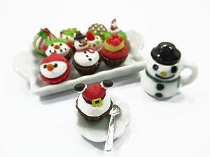 Dollhouse Miniature Food Christmas Cup Cake Snowman Holiday Dollhouse Food 15486