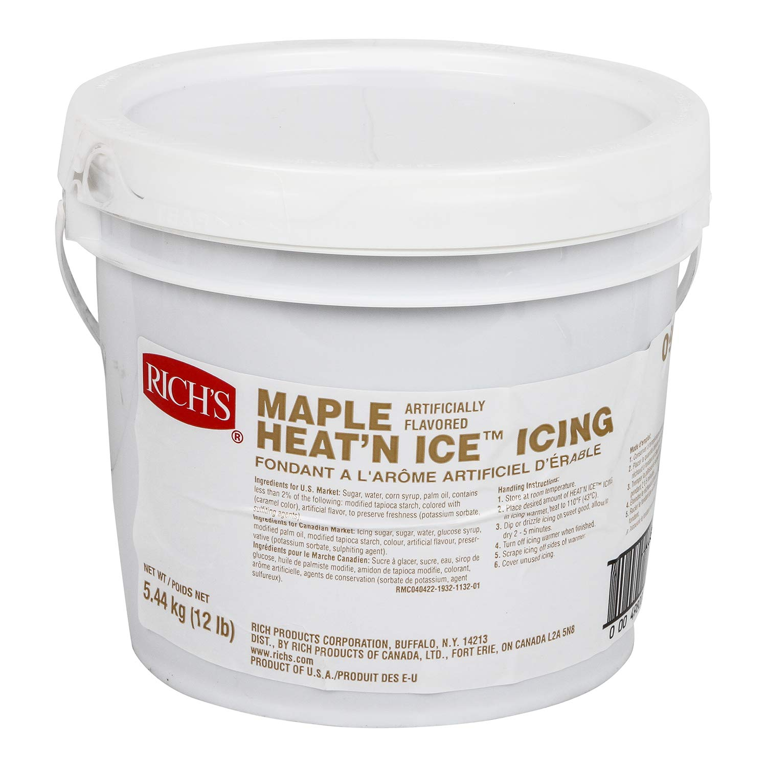Rich's Heat 'N Ice Donut Icing for Donuts, Rolls & More, Maple, 12 lb Pail