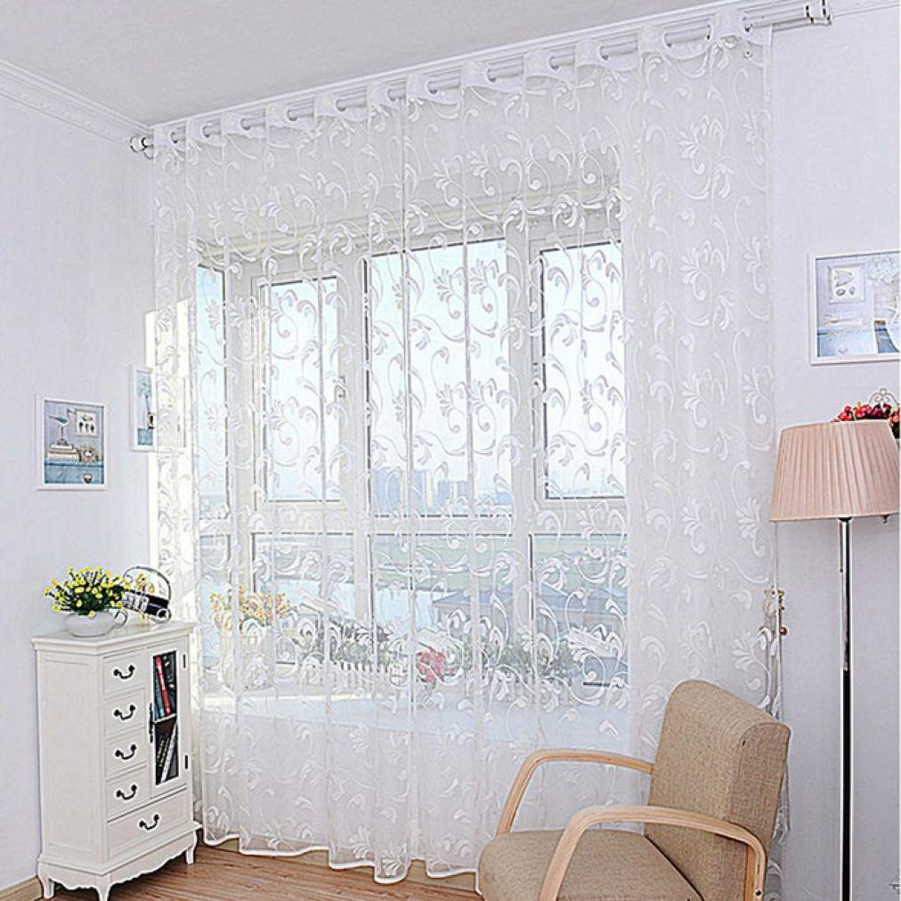 Curtain, Gotd 1PC Floral Flower Voile Door Curtain Window Curtain Room Divider (White)