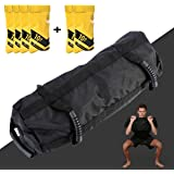 Estleys Workout Sandbag for Fitness 10 to 40 Lbs, Adjustable Military Sandbags with 4 and 2 Inner Bags, Training Weight Bags, Full Body Exercise Equipment with Filler Bag (Black)