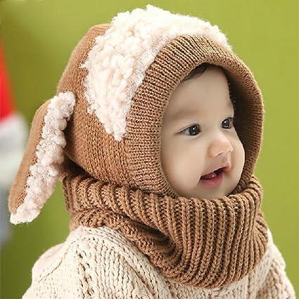 AOLVO Bebé niñas niños Infantil Invierno Gorro Bufanda Capucha Bufanda con  Orejeras Tapas de Calavera con b2aff77b384
