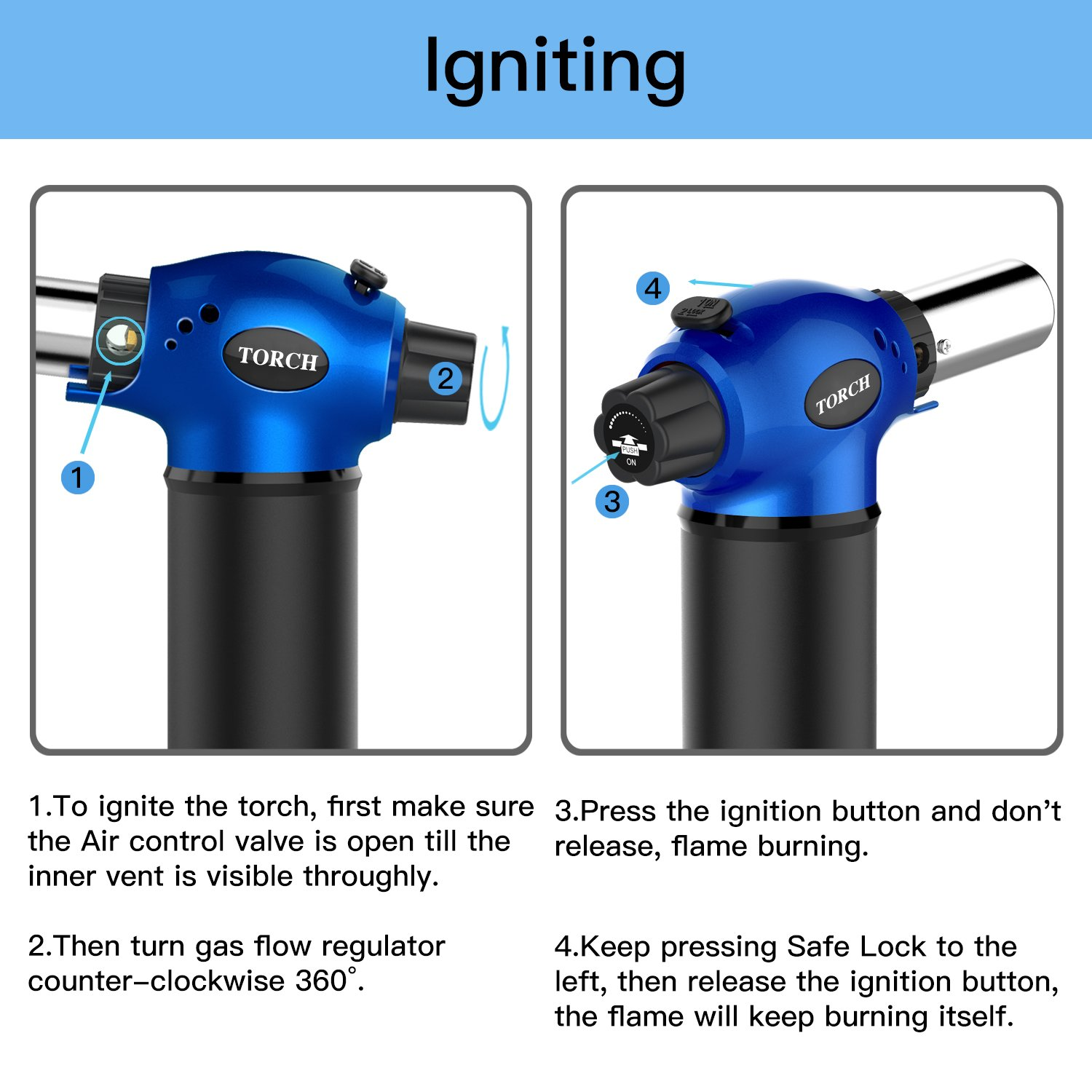 LUCKEA Blow Torch Lighter Kitchen Butane Culinary Torch Chef Cooking Torch Refillable Adjustable Flame Lighter with Two Type of Flame and Safety Lock and for Crème Brûlée, BBQ and Baking - Blue by Luckea (Image #4)