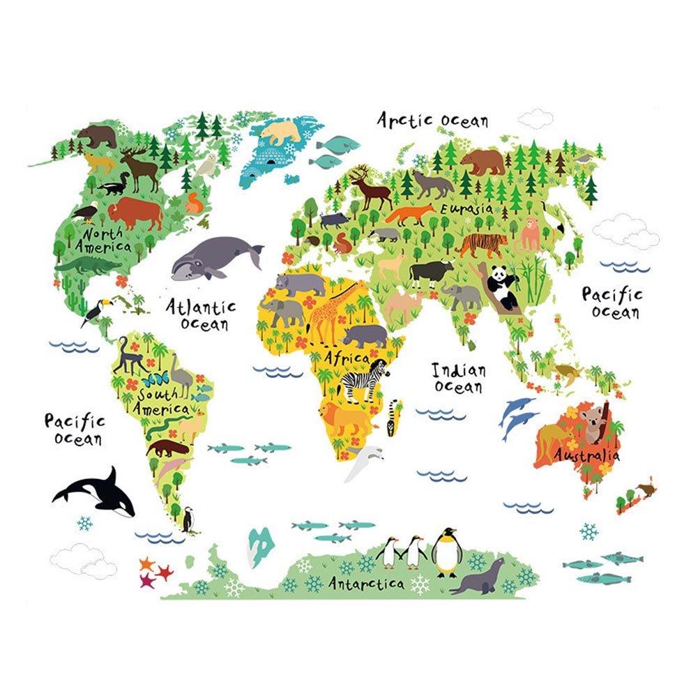 Animaux Carte Autocollants du Monde Pour Enfants Stickers Muraux Pour Enfants Chambre Contexte Salon Nursery Dé Cor Autocollant Amovible Stickers World Map Lavendei