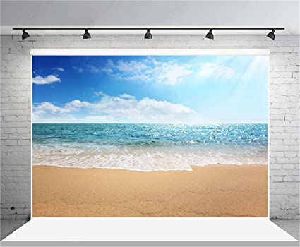 AOFOTO 7x5ft Beach Photography Background Seaside Sea Waves Backdrop Ocean  Blue Sky Clouds Holiday Trip Vacation Adult Boy Girl Lover Portrait Wedding