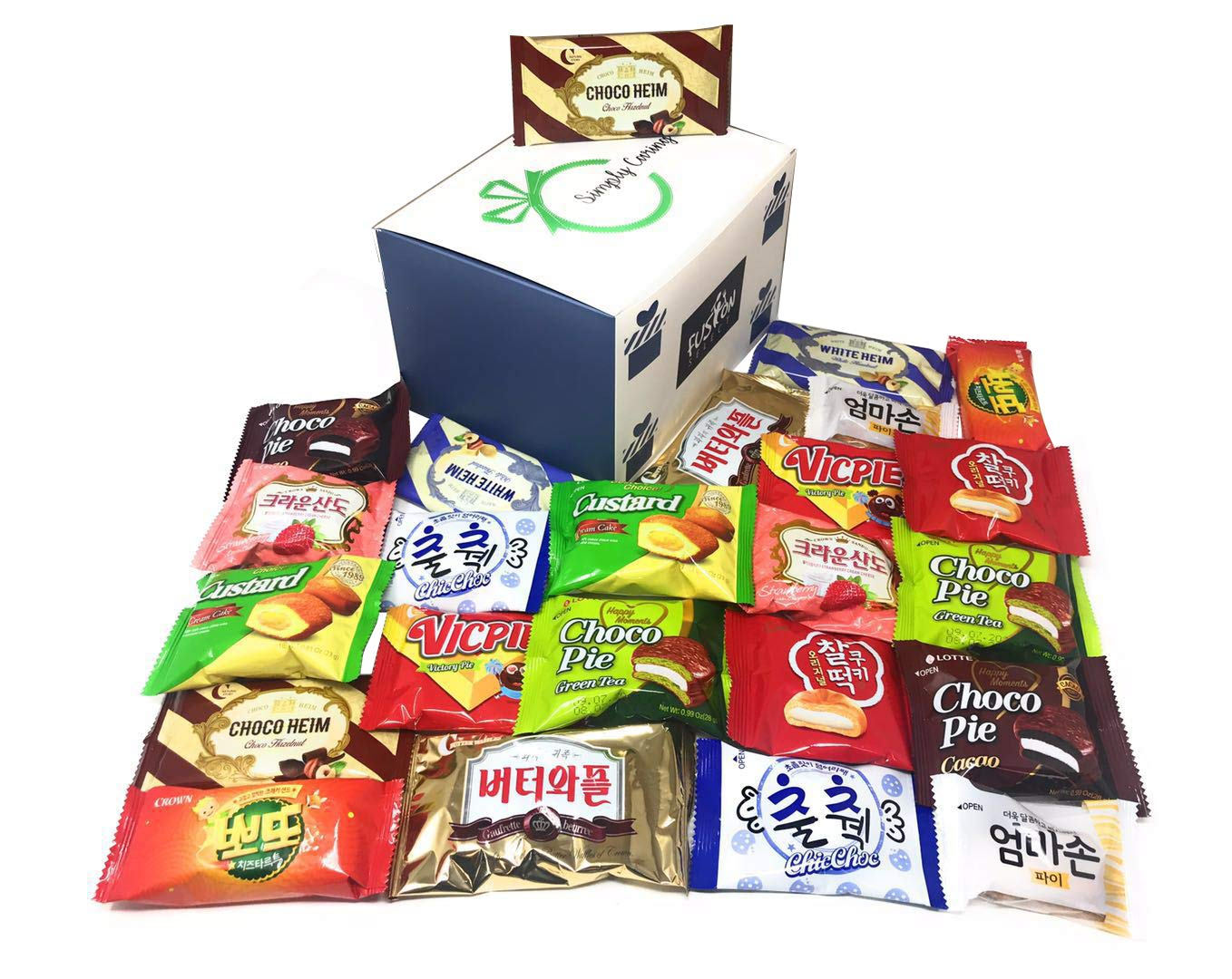 Fusion Select Excellent Korean Snack Box 24 Count Individual Wrapped Essentials Sample Packs of Snacks, Cookies, Treats for Kids, Children, College Students, Adult and Senior treat