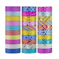 【Sticky Upgrade】Washi Tape Set of 30 Rolls All Girls Favorite Creative Multi-Purpose Masking Tape Great for Arts Crafts DIY - Multicolour