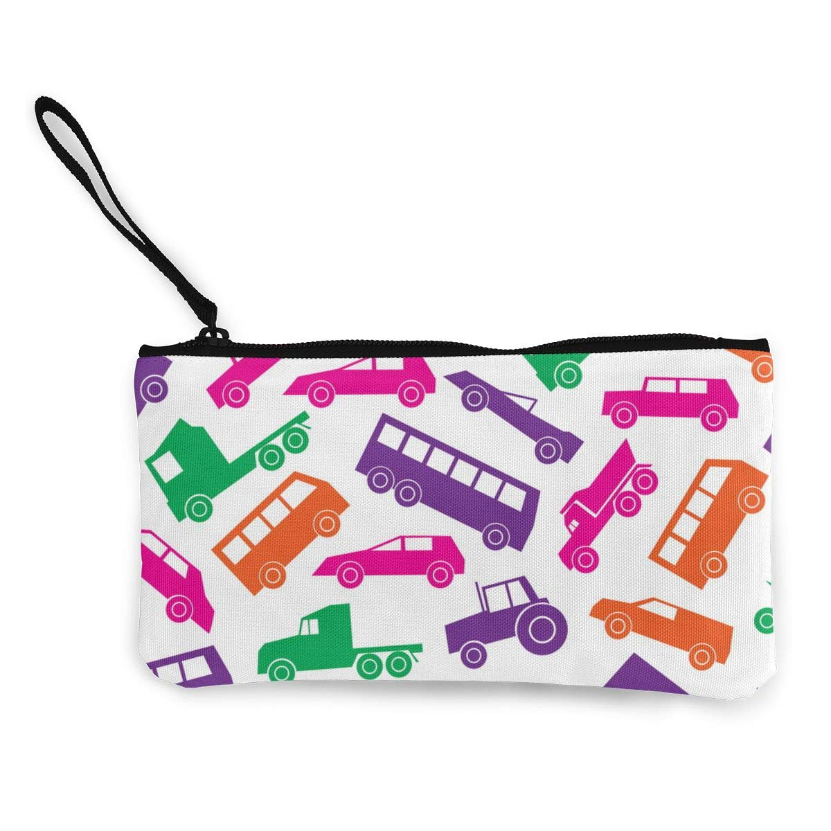 Simple Cars Color Icons Pattern Canvas Change Coin Purse Retro Change Cash Bag with Zip