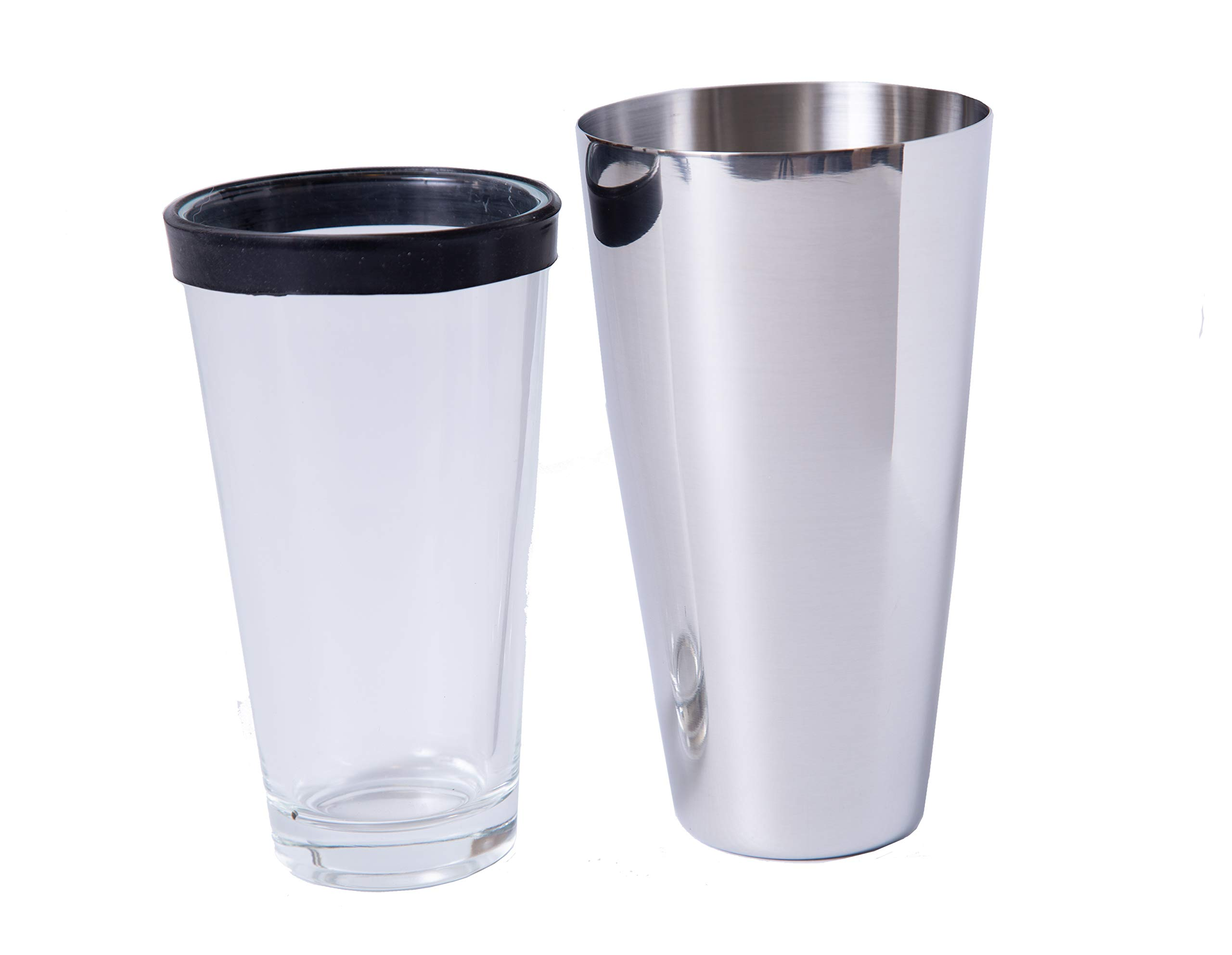 BAR DUDES Boston Shaker Cocktail Shaker With Rubber Gasket On Mixing Glass - Stainless Steel Drink Shaker and Mixing Glass - Rubber Gasket On Glass Ensures Great Seal for Shaking Every Time